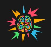 Buntes Gehirn wegen des psychedelics und halluzinogenische Substanz, Epilepsie und epileptischer Anfall lizenzfreie abbildung