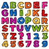 Buntes Gekritzel-Alphabet und Zahlen Stockfotos