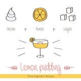 Buntes Gekritzel, Hand gezeichnetes Rezept des Zitronenpuddings mit Bestandteilen Stockbild