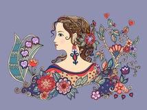 Buntes Gekritzelporträt des schönen Mädchens im Profil mit Blumen Stockfoto