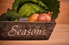 Buntes Gemüse Kohl, Blumenkohl, Brokkoli, Kartoffel, Zwiebel auf Holztisch Stockbild