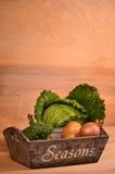 Buntes Gemüse Kohl, Blumenkohl, Brokkoli, Kartoffel, Zwiebel auf Holztisch Lizenzfreies Stockfoto