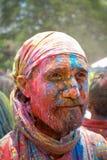Buntes Gesicht während Holi-Festivals Lizenzfreies Stockfoto