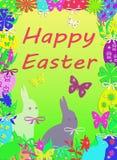 Buntes glückliches Ostern-Internatsschüler-Karten-Porträt Stockbilder