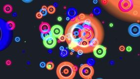 Buntes Glühen des abstrakten Fliegens kreist Partikelanimation ein lizenzfreie abbildung