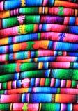 Buntes guatemaltekisches Gewebe in Chichicastenango Stockbild