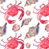 Buntes helles schönes reizendes Sommerseegeschmackvolles köstliches Muster von Tiefseekrabben und zartes Pastellmuschelaquarell ü Stockfoto