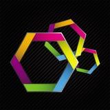 Buntes Hexagon drei Stockbilder