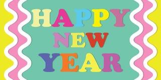Buntes Hintergrundkonzept des guten Rutsch ins Neue Jahr stock abbildung