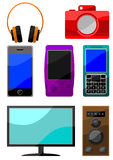 Buntes Ikonenset digitale Einheiten Stockfotografie