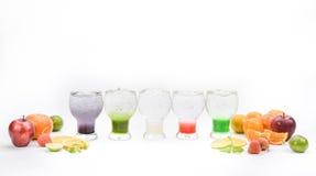 Buntes italienisches Soda auf weißem Hintergrund Stockfotografie