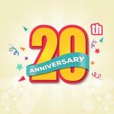Buntes Jahrestags-Emblem-20. Jahrestags-Schablonen-Entwurfs-Vektor vektor abbildung