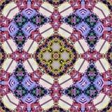 Buntes kaleidoscop Muster für Wolldecken- und Batikteppich in der Grenadine, im Rosa, im Wein, im Blau und im Veilchen vektor abbildung