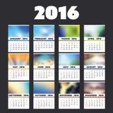 Buntes Kalender-Karten-Design eingestellt für Jahr 2016 mit verschiedenen Hintergründen stock abbildung