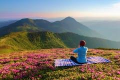 Buntes karemat Das Yogamädchen in der Lotoshaltung Der Rasen mit den Rhododendronblumen Hohe Berge meditation relax lizenzfreie stockbilder