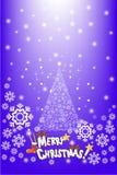 Buntes Kieferkartendesign auf dem Schneeflockenhintergrund - vector eps10 Lizenzfreies Stockfoto