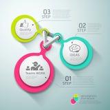 Buntes Kreisverbindungs-Schritt infographics lizenzfreie abbildung