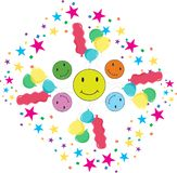 Buntes Lächeln mit Konfettis und Ballonen vektor abbildung
