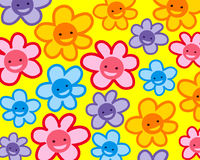 Buntes lächelndes Blumenmuster Stockfotografie