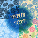 Buntes Laubzusammenfassungsmuster mit minimaler runder Textboxdesignvorrat-Vektorillustration Stockfoto