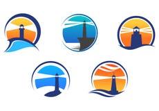 Buntes Leuchtturmsymbolset Stockbilder