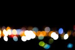 Buntes Licht Bokeh oder der Unschärfe in der Stadt in der Nacht Lizenzfreie Stockfotos