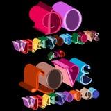 Buntes Liebeszitat des Vektors 3d lokalisiert auf schwarzem Hintergrund Stockbilder