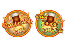 Buntes Logo für Postkarten und Grüße mit Oktoberfest Stockfotos