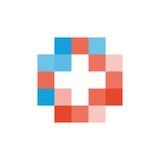 Buntes lokalisiertes Mosaikkreuzlogo Fliesenelement religiöses Zeichen Medizinisches Symbol Krankenhauskrankenwagenemblem Doctor& Stockbilder
