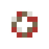 Buntes lokalisiertes Mosaikkreuzlogo Fliesenelement religiöses Zeichen Medizinisches Symbol Krankenhauskrankenwagenemblem Doctor& Stockfoto