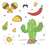 Buntes mexikanisches Gekritzel, von Hand gezeichneter Satz auf weißem Hintergrund Stockfotos