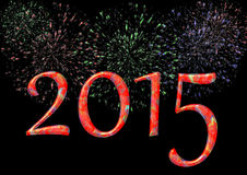 Buntes 2015 mit Feuerwerk Lizenzfreies Stockfoto