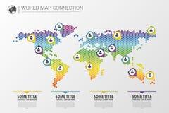 Buntes modernes infographic Weltkarteverbindungskonzept Auch im corel abgehobenen Betrag Stockfotos