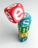 Buntes Modewort des Eshop Zeichens 3d Lizenzfreie Stockfotografie