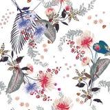 Buntes modisches Blumenmuster in vielen Art von Blumen Tro Lizenzfreie Stockbilder