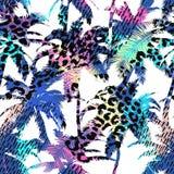 Buntes modisches nahtloses exotisches Muster mit Palme, Tierdrucken und Hand gezeichneten Beschaffenheiten Modernes abstraktes De Lizenzfreie Stockfotografie