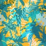 Buntes modisches nahtloses exotisches Muster mit Palme und tropischen Anlagen Modernes abstraktes Design für Papier, Tapete Stockfotografie