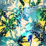 Buntes modisches nahtloses exotisches Muster mit Palmen- und Tierdrucken Modernes abstraktes Design für Papier, Tapete, Abdeckung vektor abbildung