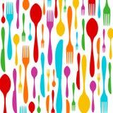 Buntes Muster des Tischbestecks auf Weiß Stockbilder