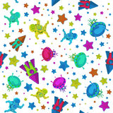 Buntes Muster des Vektors bis 12 April Cosmonautics Day Ein Astronaut oder ein Kosmonaut im Weltraum mit Fliegenrakete und Stockfoto