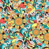 Buntes Muster mit Vogel Phoenix und Sonnenblume Lizenzfreies Stockbild