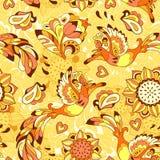 Buntes Muster mit Vogel Phoenix und Sonnenblume Stockfotografie