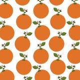 buntes Muster von Orangen mit Stamm und Blättern lizenzfreie abbildung