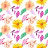 Buntes nahtloses Aquarellblumenmuster lizenzfreie abbildung