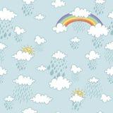 Buntes nahtloses dekoratives Muster mit abstrakten Wolken stock abbildung