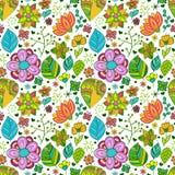 Buntes nahtloses mit Blumenmuster mit Blättern und Stockfotos