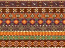 Buntes nahtloses Muster der Azteken mit Vogel Stockbild