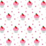 Buntes nahtloses Muster der kleinen Kuchen auf weißem Hintergrund Vektor Stockfotos