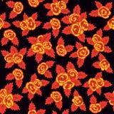 Buntes nahtloses Muster Hand gezeichnete gelbe Rosen auf dunklem Hintergrund Khokhloma-Design stock abbildung