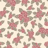 Buntes nahtloses Muster Hand gezeichnete rosa Rosen auf beige Hintergrund Blüht Weinlesethema lizenzfreie abbildung